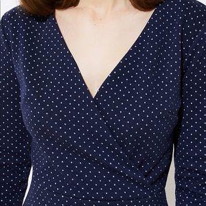 LOFT Dresses - NWT Loft navy and white polka dot wrap dress
